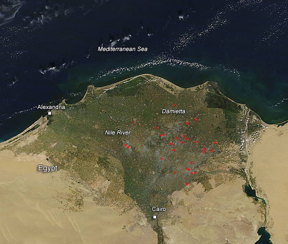 Terra satellite image of fires in the Egypt River Delta