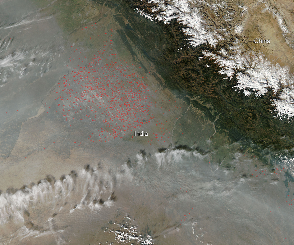 Aqua satellite image of agricultural fires in India