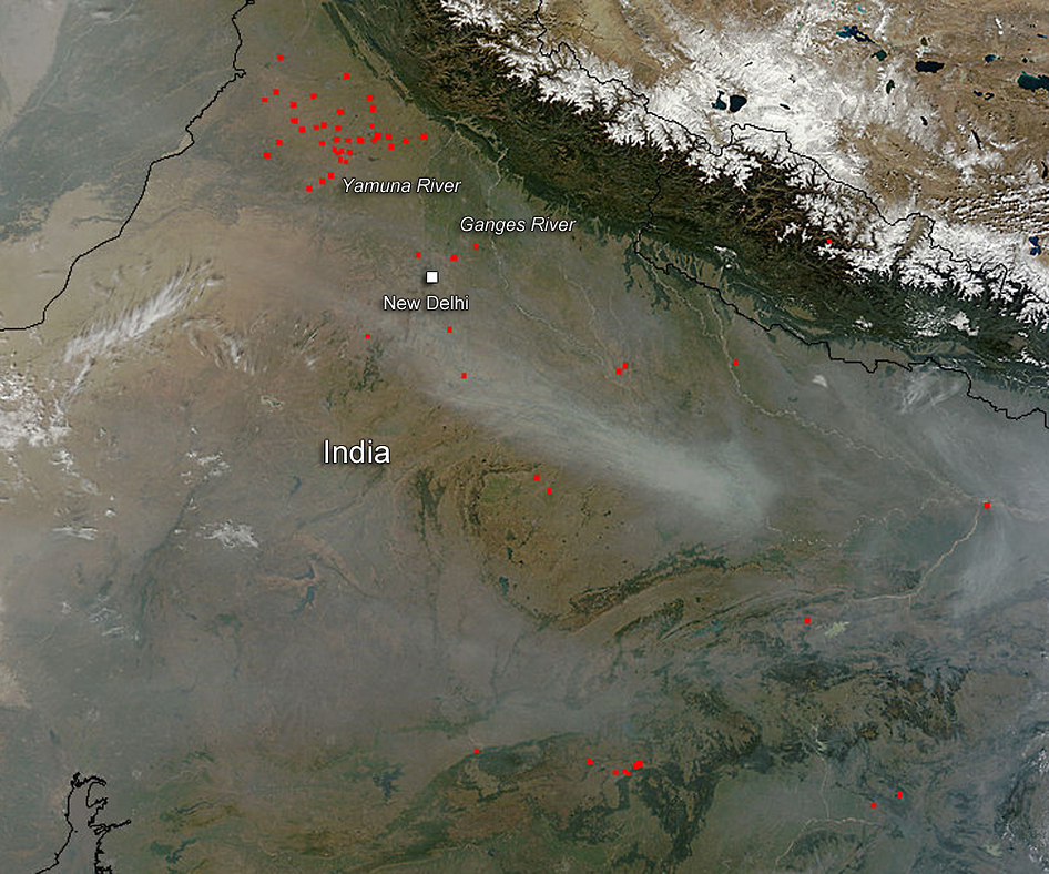 Terra satellite image of India fires