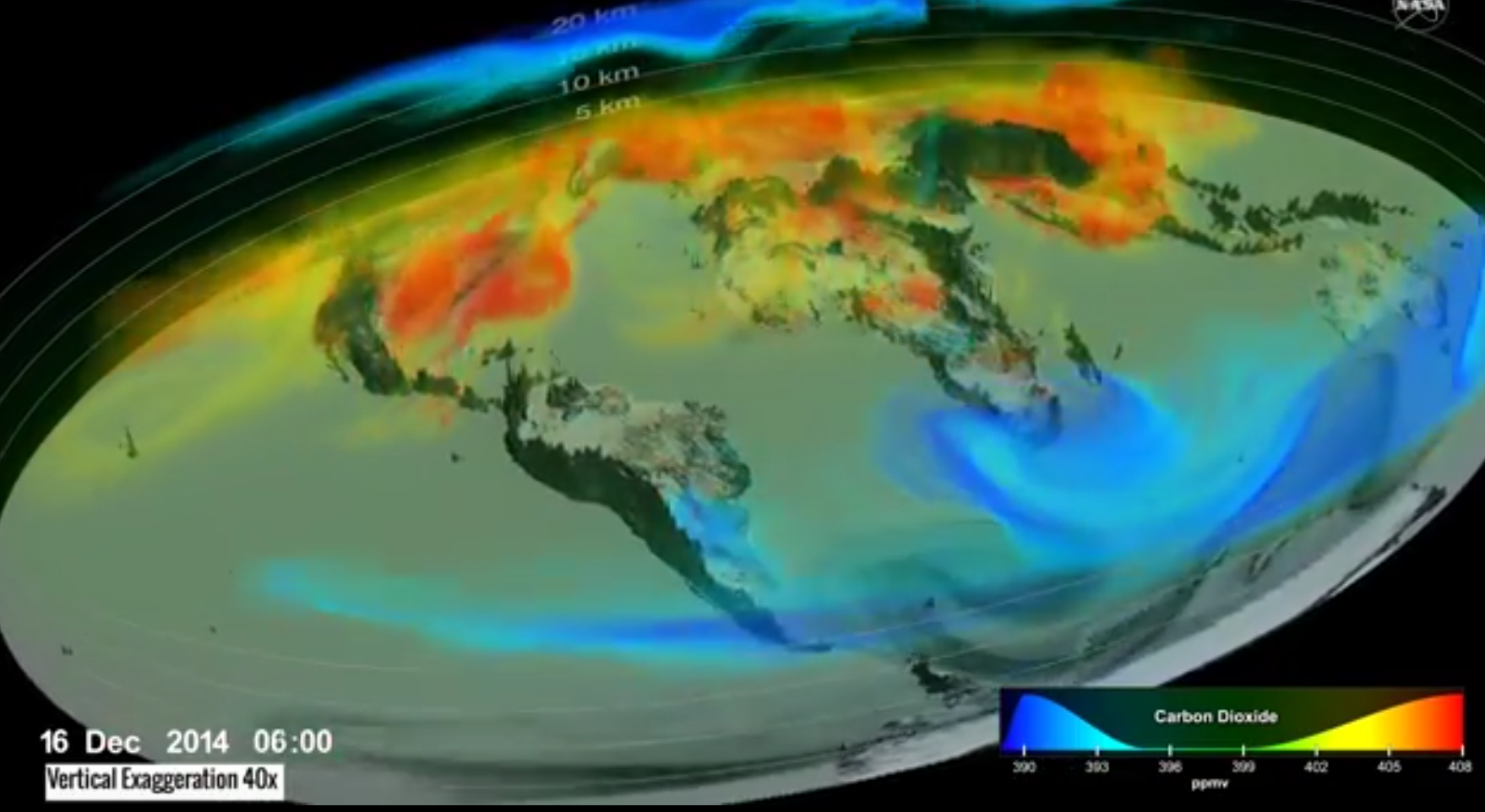 Still from animation depicting carbon dioxide levels
