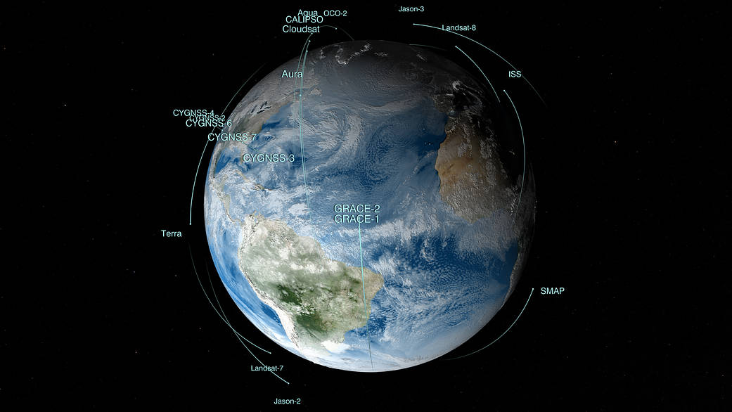 Image of Earth with satellite orbits indicated