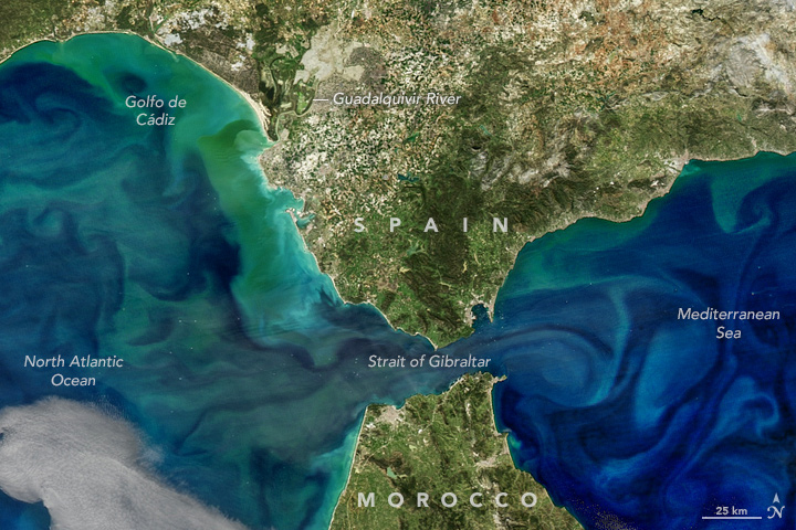 Image of the Strait of Gibraltar composed using data from Suomi NPP and Aqua satellites
