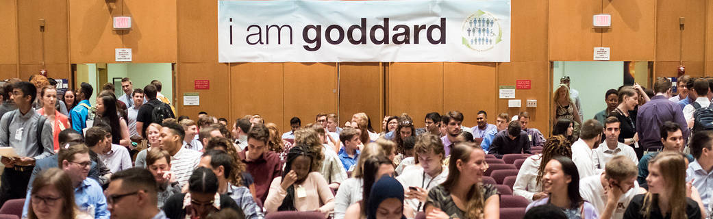 Photo of summer interns gathered in Goddard Auditorium