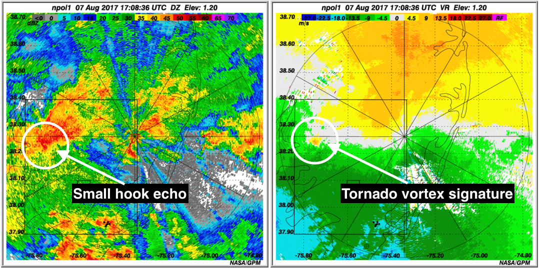 Side by side images of radar reflectivity  and radial velocity