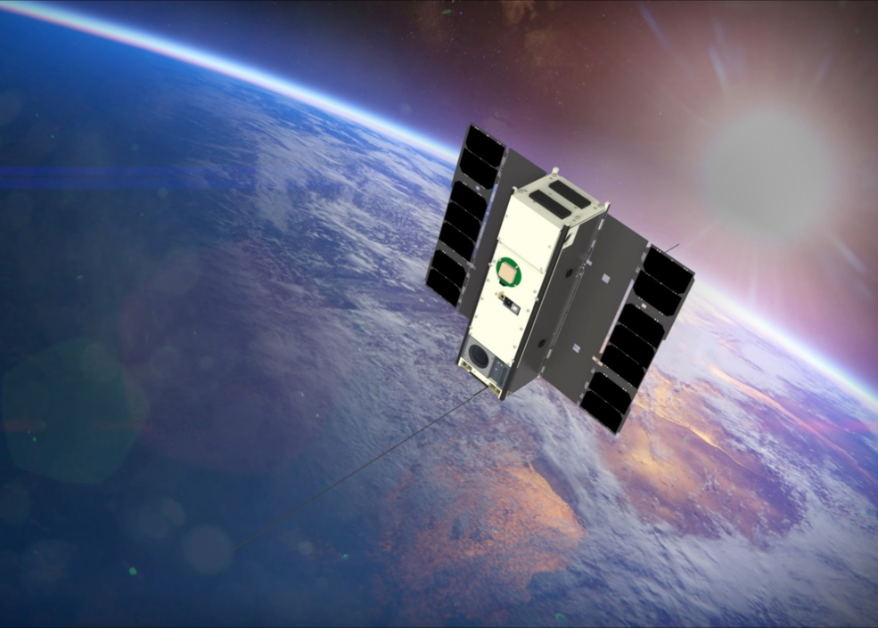 An artist's rendition of the IceCube small satellite in orbit.