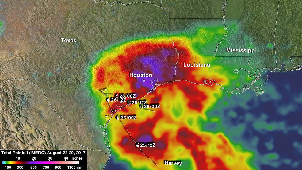 IMERG image depicting Hurricane Harvey August 23–29 rainfall totals