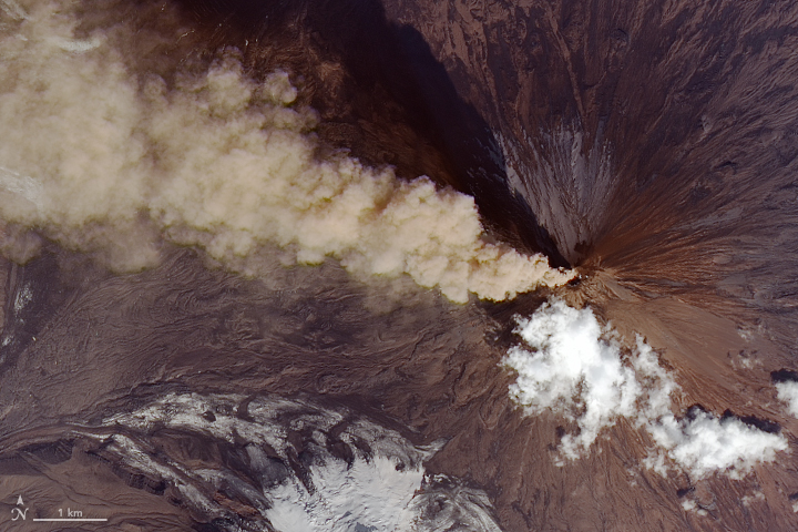 Landsat 8 satellite image of a volcanic plume streamimg west from the Klyuchevskoy volcano
