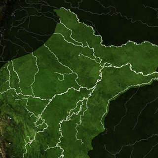 satellite map of rivers the Peruvian Amazon and surrounding areas