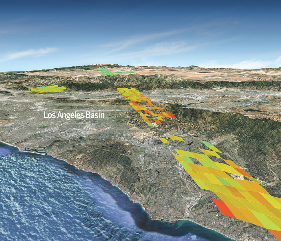 Graphic depicting how carbon dioxide emissions vary within individual cities such as Los Angeles and its surroundings