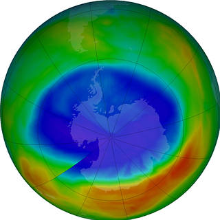 Image depicting that at its peak on Sept. 11, 2016, the ozone hole extended across an area nearly two and a half times the size of the continental United States. The purple and blue colors are areas with the least ozone.