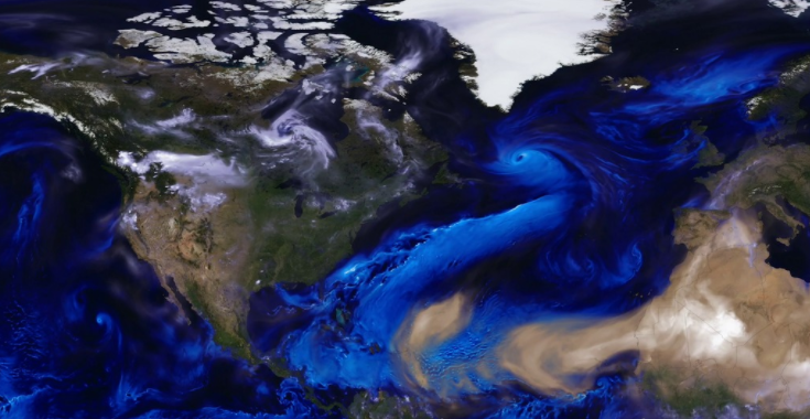 Screen shot of animation of aerosols in the western hemisphere
