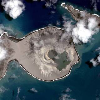 Satellite image from above Tongan Island