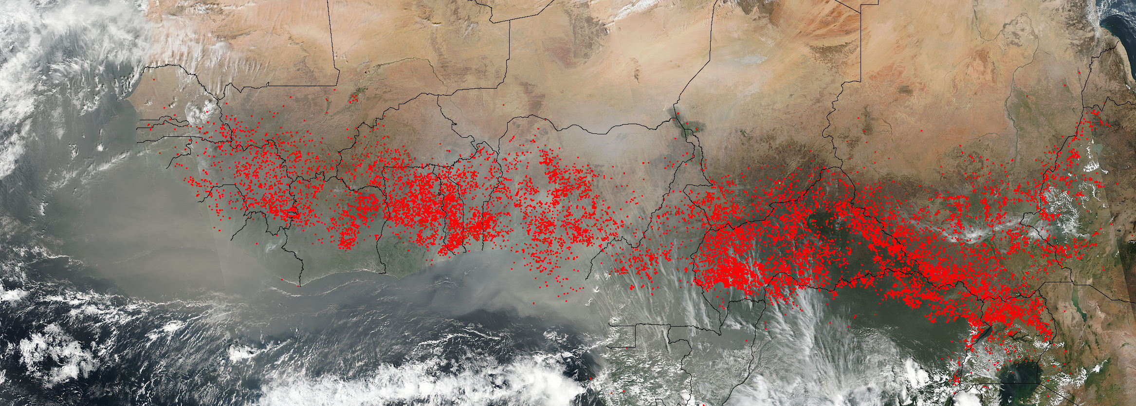 Satellite image of fires across Africa, just south of the Sahara