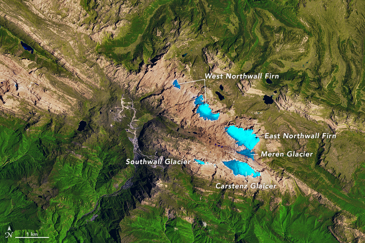 Landsat 5 satellite false-color image of five masses of ice rested on the mountain slopes of the Surdiman Range