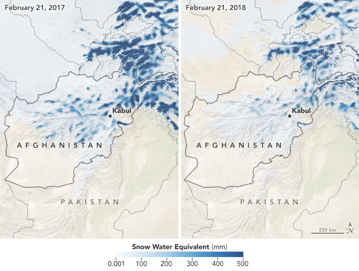 Top-right map shows snow conditions on February 21, 2018, amid a low snowpack; the top-left map shows conditions on February 21, 2017