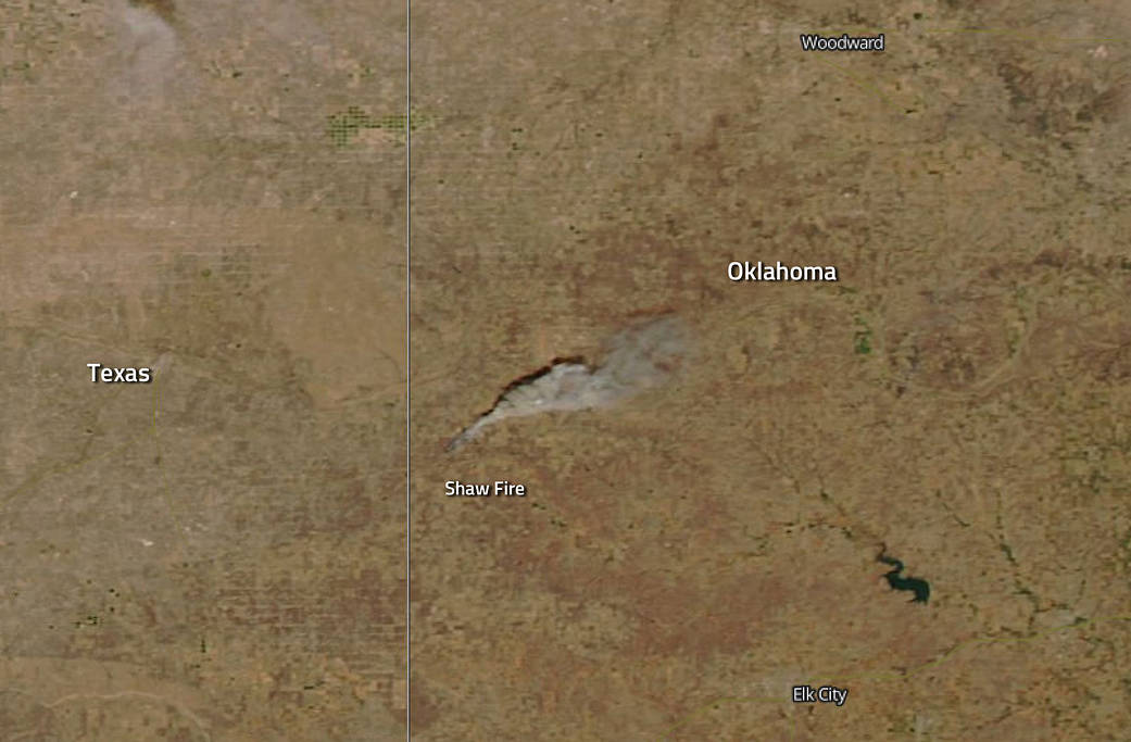 Aqua satellite natural-color image of the Shaw Fire in Oklahoma