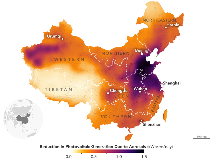Map depicting reduction in photovoltaic generation due to aerosols across China