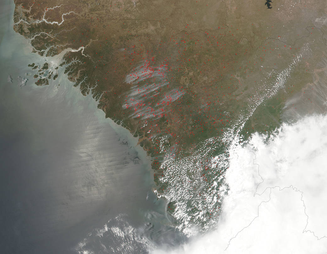 Suomi NPP natural-color satellite image of fires burning in northwestern Africa
