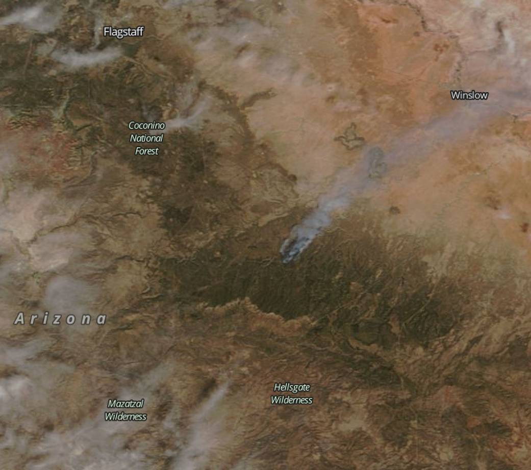 Terra satellite image of the Tinder Fire