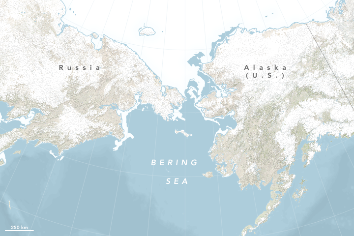 Map of sea ice extent in the Bering Sea on April 29, 2018