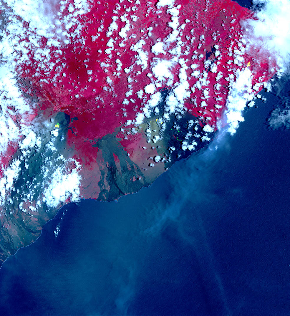 Terra satellite image of hotspots of Hawaii's Kilauea Volcano eruption