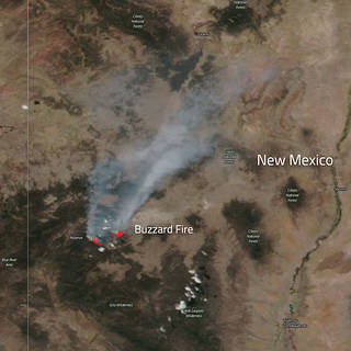 Aqua satellite image of heat signature and smoke from Buzzard Fire in new Mexico