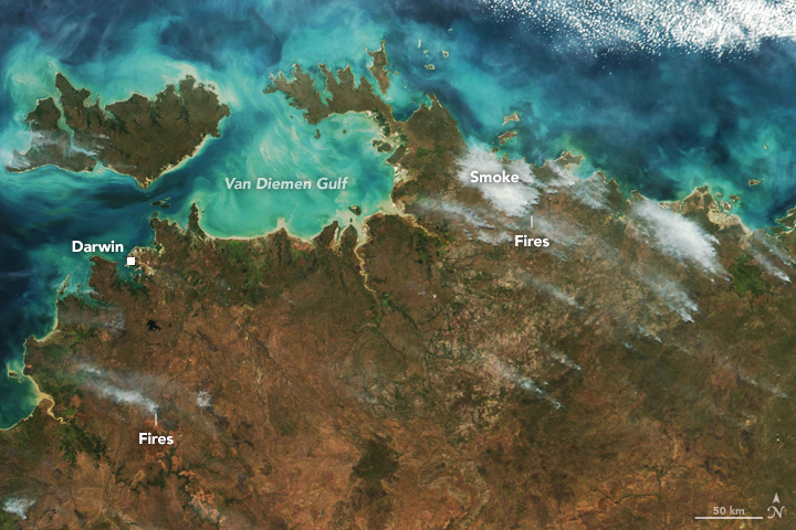 Aqua satellite image of fires in forested areas of Arnhem Land