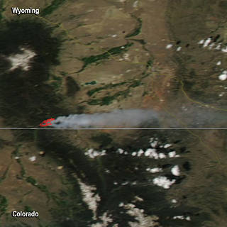 Aqua satellite image of hot spots and smoke from the Badger Creek Fire