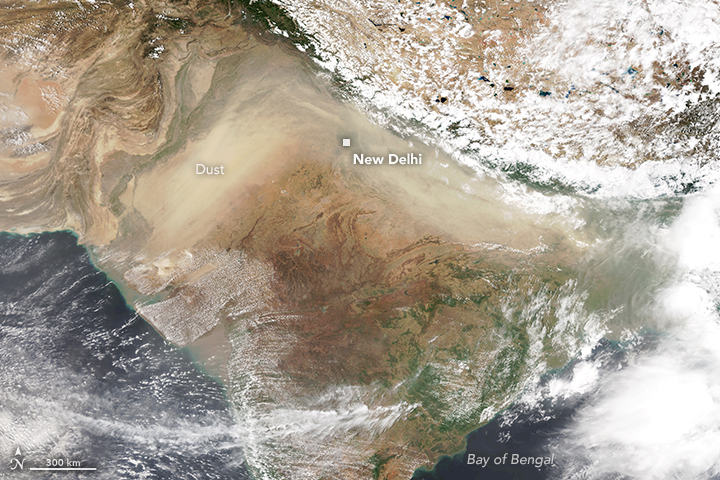 Suomi NPP satellite image of dust over India