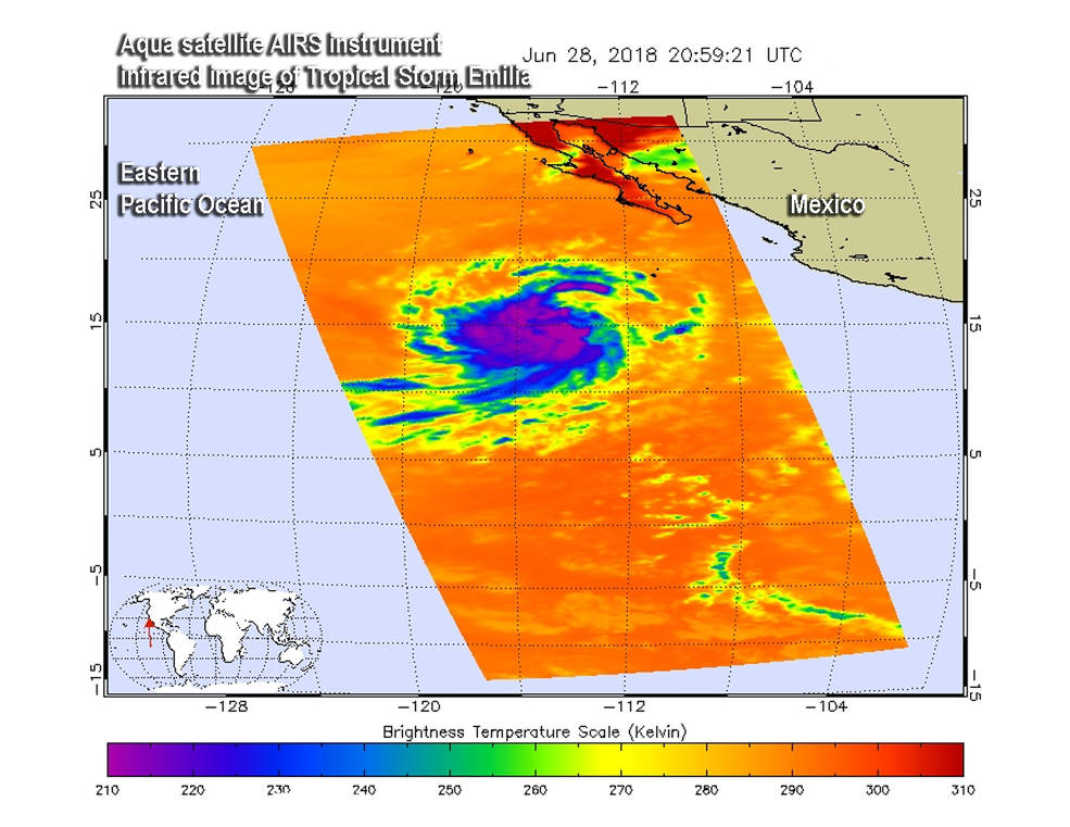 AIRS instrument aboard NASA's Aqua satellite showed powerful storms