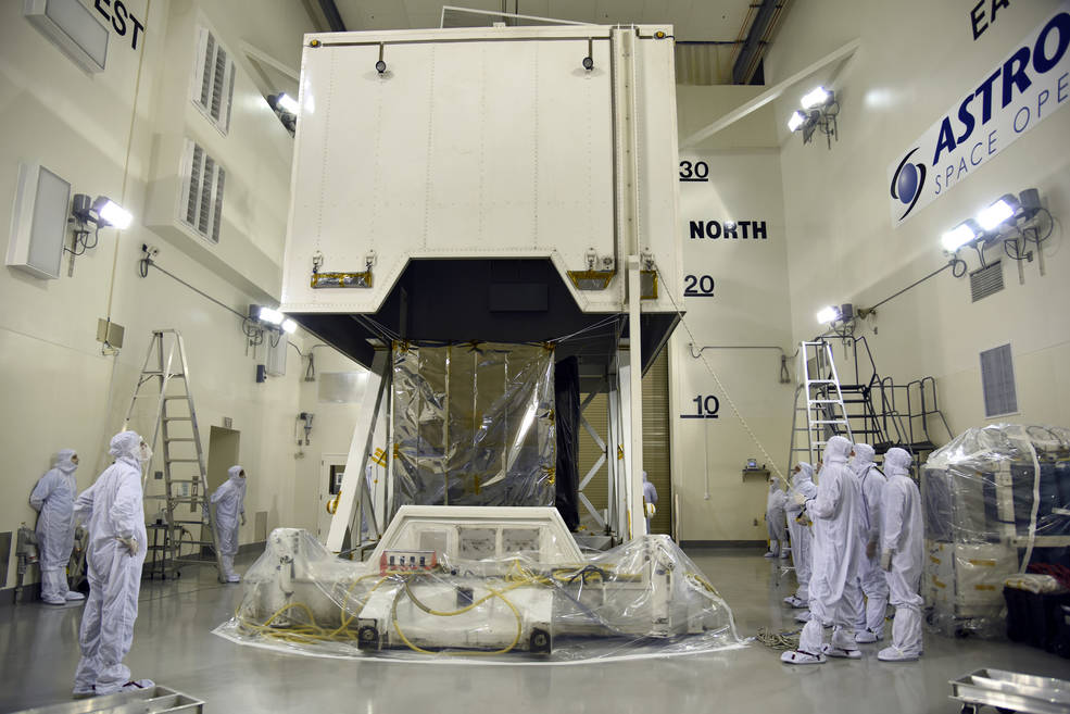 Photo of ICESat-2 uncrated inside the airlock of the Astrotech processing facility at Vandenberg Air Force Base in California