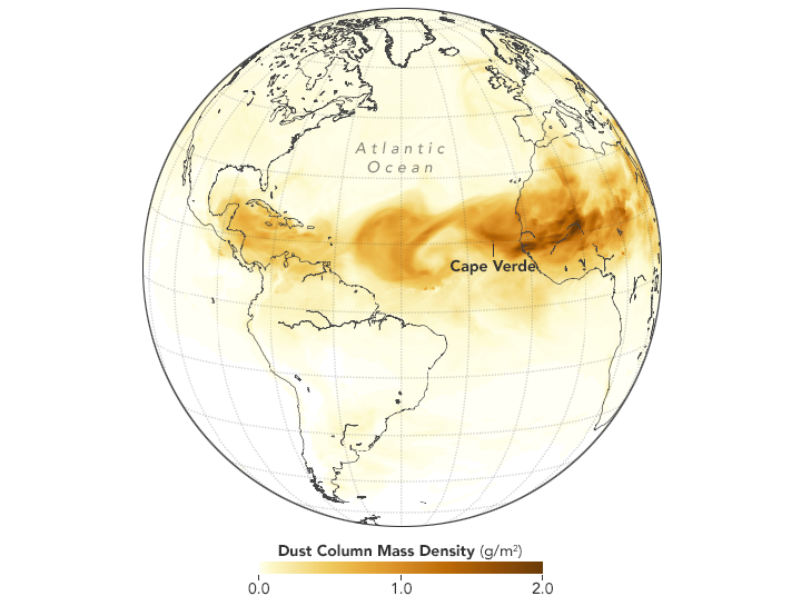 Map showing dust crossing the Atlantic on June 28, 2018, as represented by the Goddard Earth Observing System Model, Version 5 (GEOS-5)