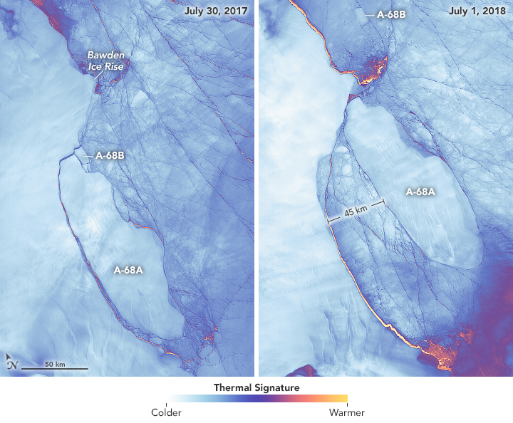 The left image shows Iceberg A-68 on July 30, 2017, soon after it broke away from the shelf and then fractured into two pieces known as A-68A and A-68B. The right image shows the same area on July 1, 2018. Both images are false-color, acquired with the Thermal Infrared Sensor (TIRS) on Landsat 8.