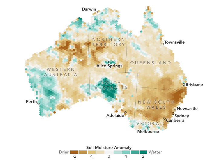 Map of Soil Moisture Anomaly in Australia