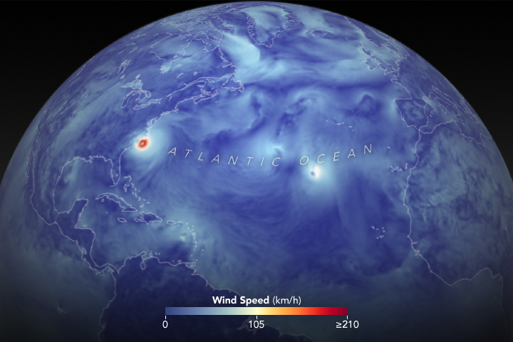 Still from animation depicting Hurricane Florence wind speeds