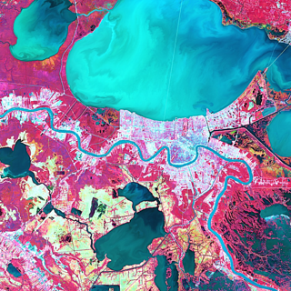 False-color satellite image of land use