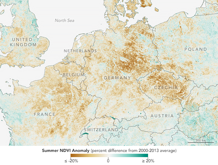 Summer NDVI Anomaly map of Europe