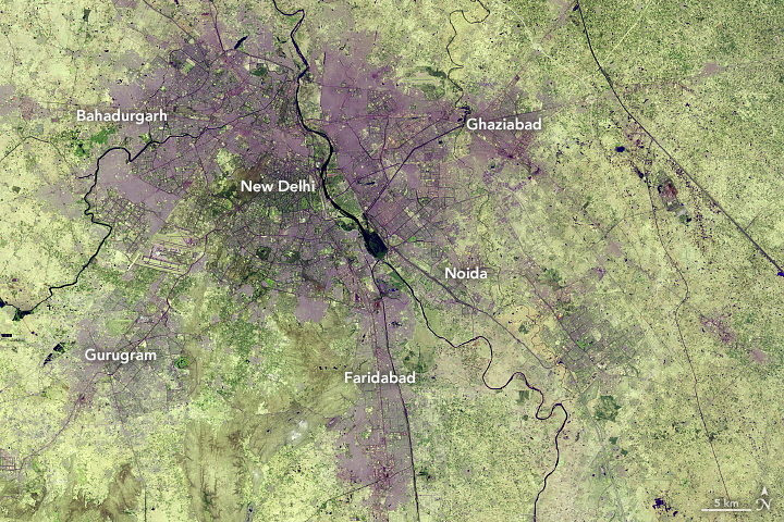 Landsat 8 satellite image of New Delhi