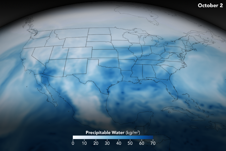 Map of Precipitable Water over North America
