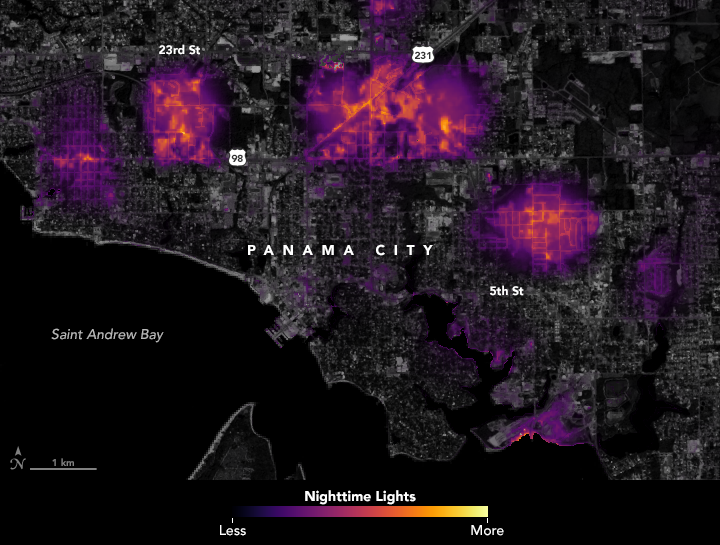 data visualization of where lights went out in Panama City, Florida.