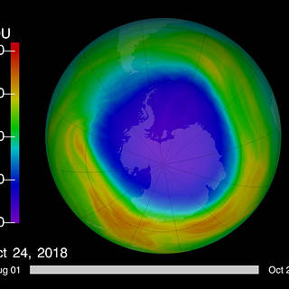 Image of Ozone hole on October 24, 2018