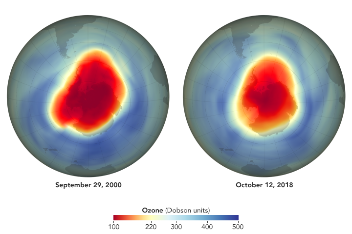 Comparison image maps of ozone hole in September 2000 and October 2018