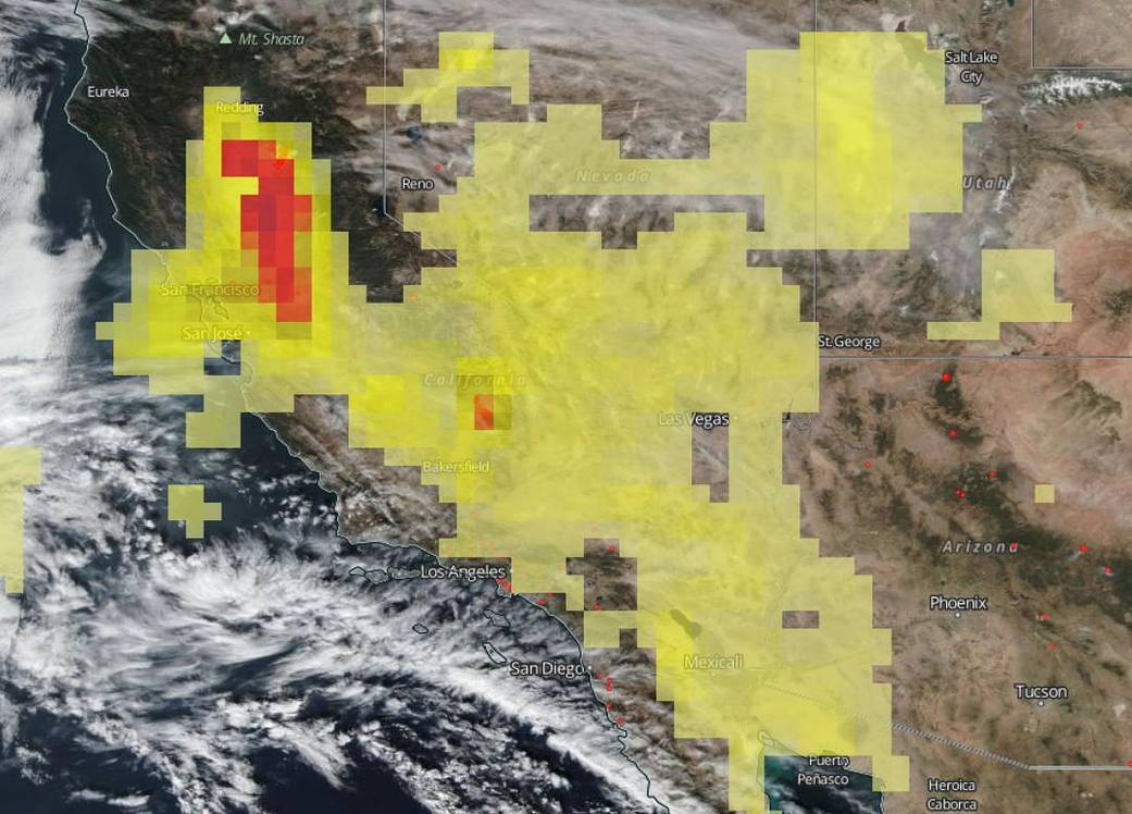 Suomi NPP satellite image of levels of ozone from the ongoing California fires