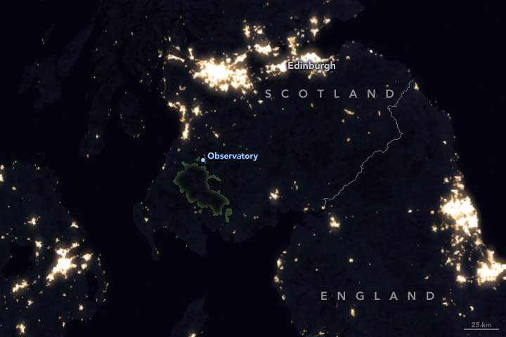 Suomi satellite night image of Scotland