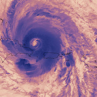 False color satellite image of Hurricane Maria