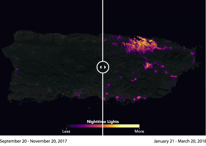 Side by side comparison night images of Puerto Rico before and after Hurricane Maria