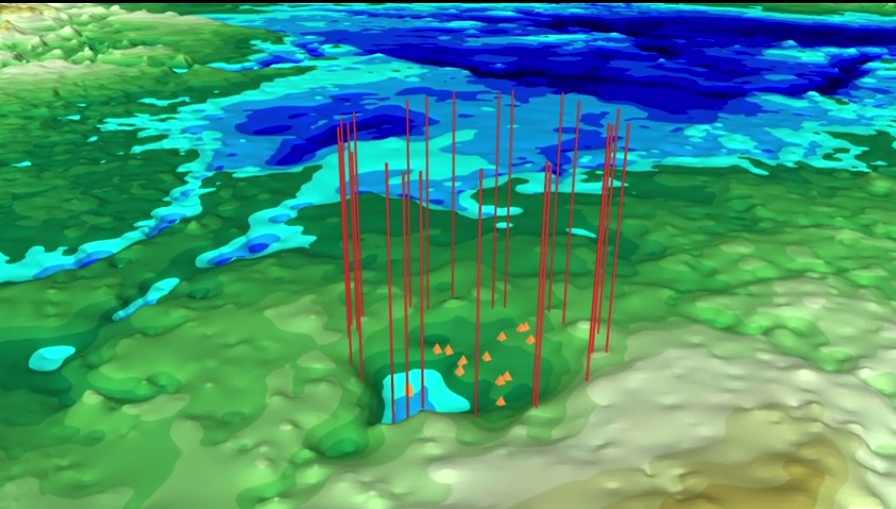 Still from animation depicting second impact crater buried under Greenland