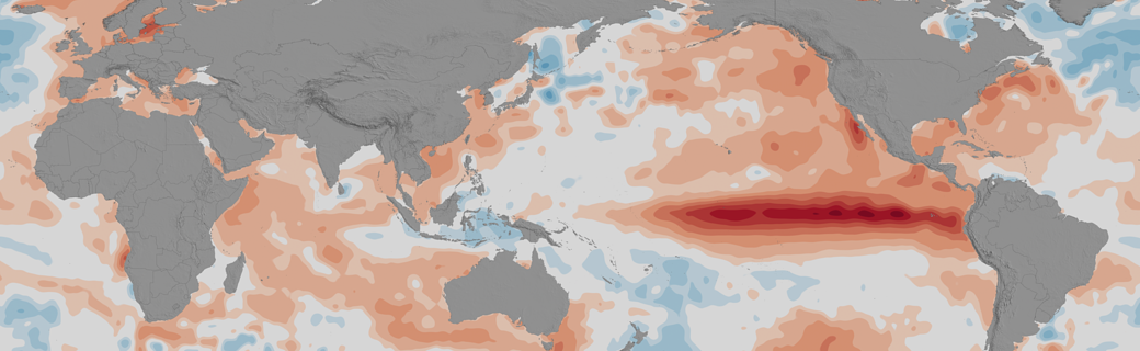 Map depicting Increased sea surface temperatures in the equatorial Pacific Ocean characterizes an El Niño