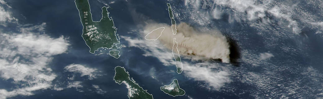 Suomi NPP natural-color satellite image of Manaro Voui volcano eruption
