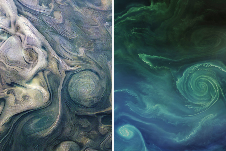 Side-by-side images of swirls in Jupiter's atmosphere and Earth's Baltic Sea